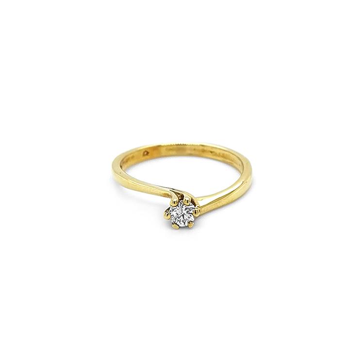Zlatý Zánsubní Prsten s Diamantem